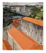 Wine Cellars In Vila Nova De Gaia By The Douro River Fleece Blanket