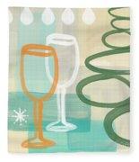 Wine For Two Fleece Blanket by Linda Woods
