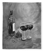Wine On My Canvas - Black And White - Wine For Two Fleece Blanket