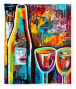 Wine Lovers Abstract Fleece Blanket