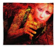 Wine Woman And Fall Colors Fleece Blanket