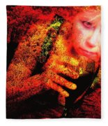 Wine Woman And Fall Colors Fleece Blanket