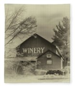 Winery In Sepia Fleece Blanket