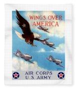 Wings Over America - Air Corps U.s. Army Fleece Blanket