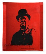 Winston Churchill - A Joke Is A Very Serious Thing Fleece Blanket