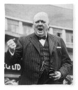 Winston Churchill Campaigning - 1945 Fleece Blanket