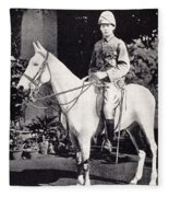 Winston Churchill On Horseback In Bangalore, India In 1897 Fleece Blanket