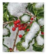 Winter - Ice Coated Holly Fleece Blanket