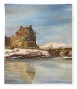 Winter At Eilean Donan Fleece Blanket