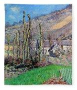 Winter At The Val De Falaise Fleece Blanket