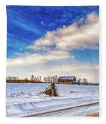 Winter Barn 3 - Paint Fleece Blanket