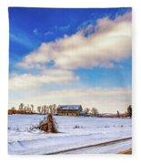 Winter Barn 3 Fleece Blanket