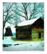 Winter Barn And Silo Fleece Blanket