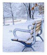 Winter Bench Fleece Blanket
