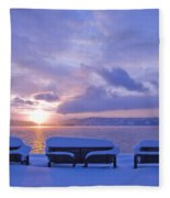 Winter Benches Fleece Blanket