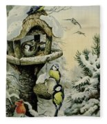 Winter Bird Table With Blue Tits Fleece Blanket