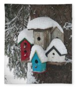 Winter Birdhouses Fleece Blanket