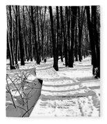 Winter Boardwalk In Black And White Fleece Blanket