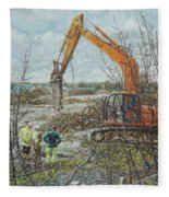 Winter Building Site Breaker Fleece Blanket