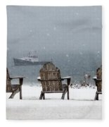 Winter By The Sea Fleece Blanket