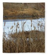 Winter Cattails  Fleece Blanket