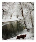 Winter Contemplation Watercolor Painting Fleece Blanket