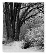 Winter Day - Black And White Fleece Blanket