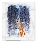 Winter Deer 1 Fleece Blanket