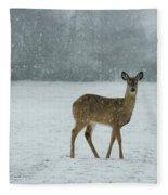 Winter Deer Walk Fleece Blanket