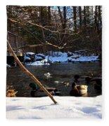 Winter Ducks Fleece Blanket
