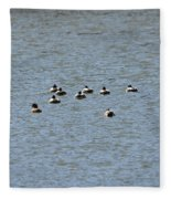 Winter Ducks Swimming Away  Fleece Blanket