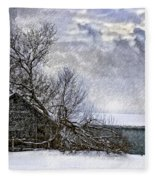 Winter Farm Fleece Blanket