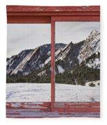 Winter Flatirons Boulder Colorado Red Barn Picture Window Frame  Fleece Blanket