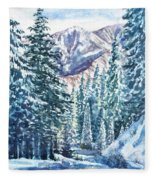 Winter Forest And Mountains Fleece Blanket
