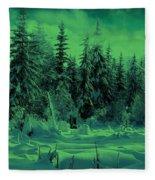 Winter Forest Dream At Dusk Fleece Blanket