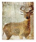 Winter Game Deer Fleece Blanket