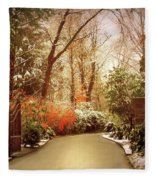 Winter Greets Autumn Fleece Blanket