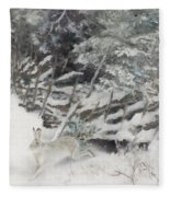 Winter Hare At The Fence Fleece Blanket