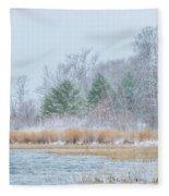 Winter Hoarfrost On The River Fleece Blanket