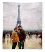 Winter Honeymoon In Paris Fleece Blanket