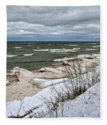 Winter Ice On Lake Michigan Ll Fleece Blanket