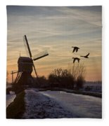 Winter In Holland-1 Fleece Blanket