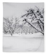 Winter In The Orchard Fleece Blanket