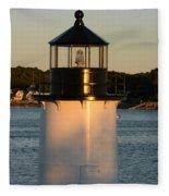Winter Island Lighthouse At Sunset, Salem, Massachusetts Fleece Blanket