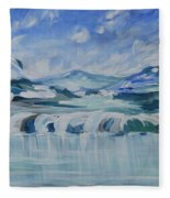 Winter Lake View Fleece Blanket