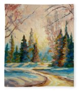 Winter Landscape Knowlton Quebec Fleece Blanket
