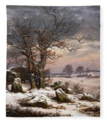 Winter Landscape. Near Vordingborg Fleece Blanket