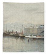 Winter Landscape Over Skeppsbron, Stockholm Fleece Blanket
