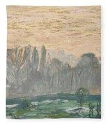 Winter Landscape With Evening Sky Fleece Blanket