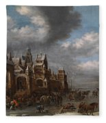 Winter Landscape With Horses Sleighs And Skaters In Front Of A Fortified Town, Fleece Blanket